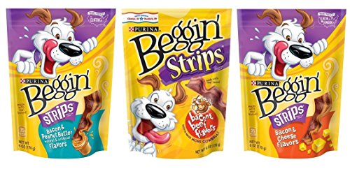 (Purina Beggin' Strips Dog Treats 3 Flavor Variety Bundle: (1) Bacon & Peanut Butter, (1) Bacon & Beef, and (1) Bacon & Cheese, 6 Oz. Ea. (3 Total))