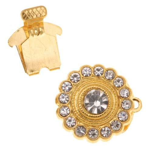 - Beadaholique Gold Tone Single Strand Round Box Clasp With Rhinestones 15mm Diameter (1)