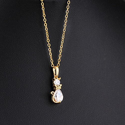 HighPlus Cute Bowknot Cat Shape Necklace 18K Gold Plated Pendant Chain Necklace