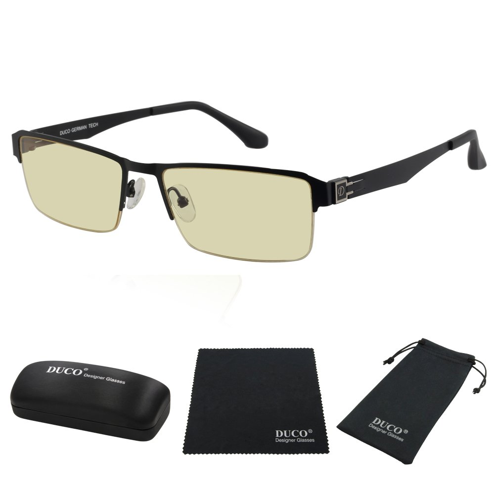 Duco Semi-rimless Ergonomic Advanced Computer Gaming Glasses with Amber Lens Tint 302