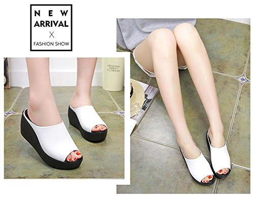 Platform Soles Sandals Thick Bottom Waterproof Strap Slippers Wedge High Leather White Heel Students Women Ankle Masonry Toe Peep q67nwq0A