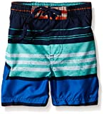 Kanu Surf Little Boys' Toddler Halo Stripe Swim Trunk, Navy/Orange, 3T