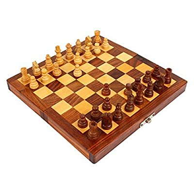 PREM SAGAR Rosewood Chessboard In Folding Box Handmade Travel chess 8x8""