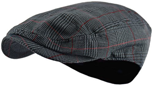 Men's Classic Herringbone Tweed Wool Blend Newsboy Ivy Hat (Large/X-Large, Paisley Dk.Gray)