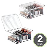 mDesign Stackable Battery Storage Organizer Box, Hinged Lid for AA, AAA, C, D, 9 Volt Sizes, Great Storage for Kitchens, Home Offices, and Utility Rooms - Pack of 2, Clear