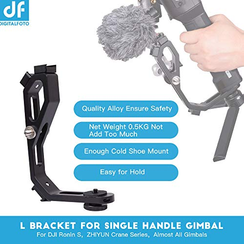 DF DIGITALFOTO Handle Grip L bracket Accessories for Mounting Monitors(exclude), Microphone(exclude), Light(exclude), compatible with DJI RONIN S ZHIYUN Crane M Crane 2 Plus/MOZA Aircross/FEIYU Gimbal by DF DIGITALFOTO