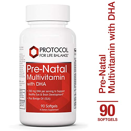Protocol For Life Balance - Pre-Natal Multivitamin with DHA - Prenatal that Supports Healthy Eye, Brain Development & More with Folic Acid (Folate), Borage Oil, Biotin, & More - 90 Softgels