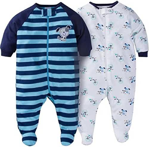 Gerber Baby Boys 2 Pack Zip Front Sleep n Play (3-6 Months, Blue Dogs)