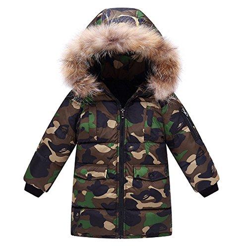 OCHENTA Kids Boys Winter Camo Padded Puffer Coat with Faux Fur Hood