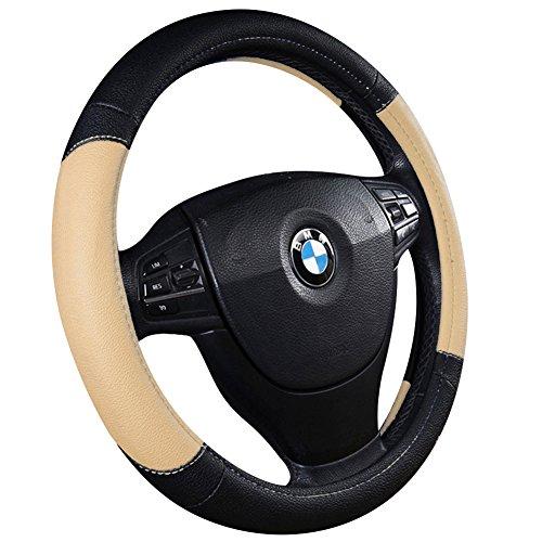 Advgears Car Steering Wheel Cover Microfiber Leather Auto Steering Wheel Cover Universal 15 inch(Black Beige)