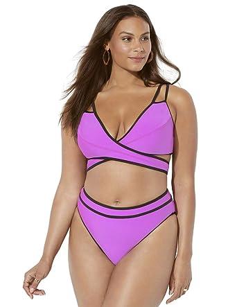 64a0a201a89f4 Amazon.com: Swimsuits for All Women's Plus Size Ashley Graham Roxbury  Bikini: Clothing