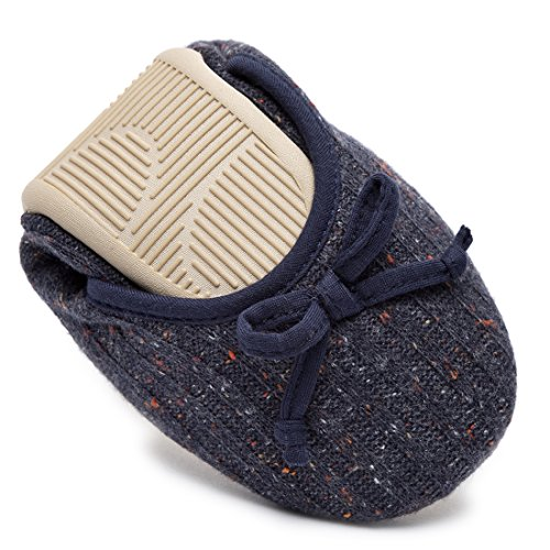 Women's Memory Shoes Indoor New Elegant House 2018 Cashmere Blue Ballerina Slippers Foam HomeTop Knitted Style Navy dvwadx