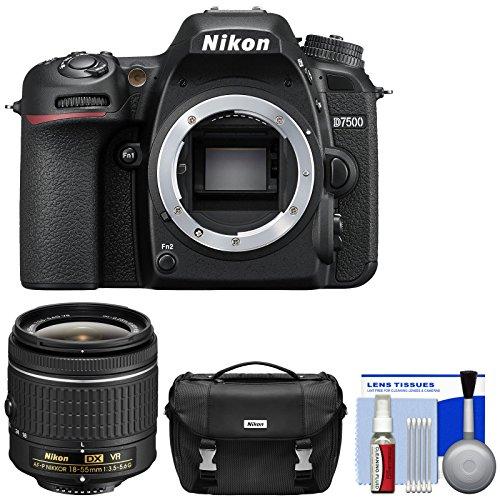Nikon D7500 Wi-Fi 4K Digital SLR Camera Body with 18-55mm G VR AF-P Lens + Case + Kit (Certified Refurbished)