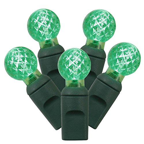 4 Sets of 50 Green LED Faceted G12 Berry Christmas Lights - Green Wire