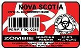 Nova Scotia Zombie Hunting Permit Sticker Size: 4.95x2.95 Inch (12.5x7.5cm) Cut Decal outbreak response team Canada