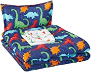 AmazonBasics Easy Care Super Soft Microfiber Kid's Bed-in-a-Bag Bedding Set - Twin, Multi-Color Dinos