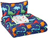 AmazonBasics Kid's Bed-in-a-Bag - Soft, Easy-Wash Microfiber - Twin, Multi-Color Dinosaurs