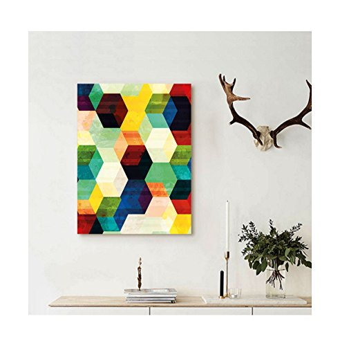 Blue Mountain Geometric Wallpaper (Liguo88 Custom canvas Vintage Rhombus Pattern Grunge Effect Hexagonal Pattern Colorful Geometric Mosaic Artwork Wall Hanging for Multicolor)
