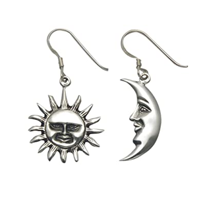 4fc7da68f Image Unavailable. Image not available for. Color: Sterling Silver Sun &  Crescent Moon Wire Earrings