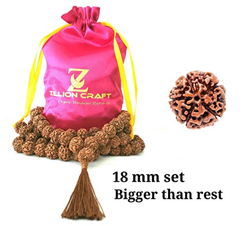 Himalayan Organic Rudraksha Mala with Bigger Size 16-18 MM and 108 +1 Prayer Guru Beads. Grown up in high Himalaya of Nepal Without Chemical,Wax and Color Treatment Good for Puja,Yoga, Meditation.