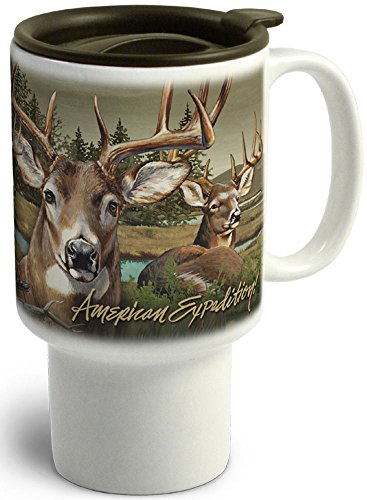 - American Expedition CTMG-302 Stoneware Travel Mug, Whitetail Deer, Multi-Color