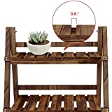 YAHEETECH 3 Tier Folding Wooden Plant Stand Wood