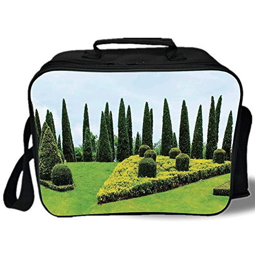 Insulated Lunch Bag,Country Home Decor,Classic Formal Designed Garden With Evergreen Shrubs Boxwood Topiaries,for Work/School/Picnic, Grey (Topiary Globe)