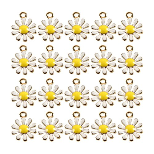 20 Pcs Gold Tone Daisy Flower Enameled Alloy Charm Necklace Pendants Jewelry Crafts Making DIY Creation Ideas