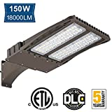 Amico 150W LED Shoebox, Outdoor Weatherpoof Commerical Security Lighting Fixture,18700lm 5700K DLC and ETL Listed Super Bright Arm Mounted Pole Light [450W Equivalent]