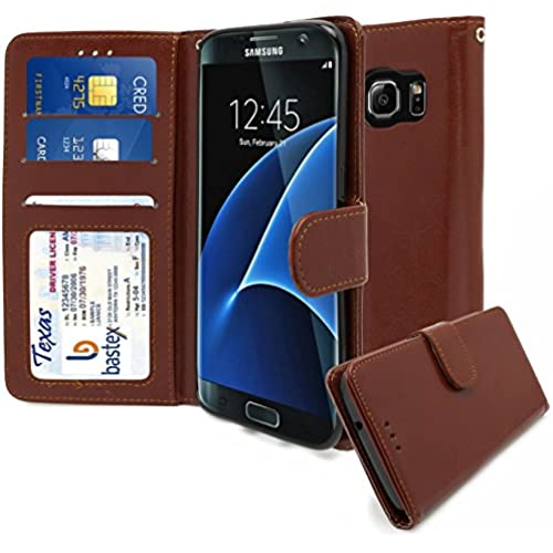 Samsung Galaxy S7 Edge Wallet Case, Bastex Shiny PU Leather Brown Flip Wallet Credit Card Cover for Samsung Galaxy S7 Edge Sales