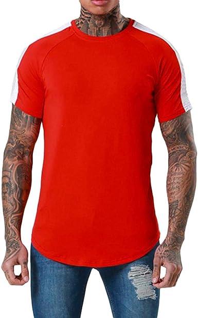 Camiseta para Hombre, Verano Manga Corta Patchwork Moda Originales Camiseta Diario Slim Fit Running Casual T-Shirt Camisas Camiseta Cuello Redondo Suave básica Camiseta Tops vpass: Amazon.es: Ropa y accesorios