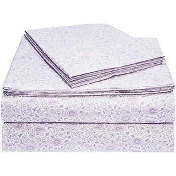 AmazonBasics Light-Weight Microfiber Sheet Set - Queen, Lavender Paisley