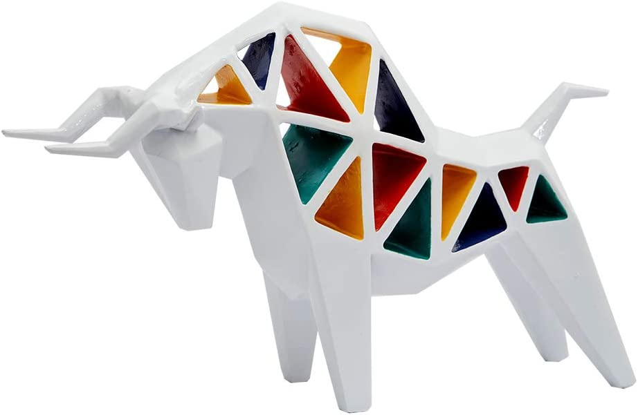 HAUCOZE Bull Statue Sculpture Colorful Hollow Animal Decor Geometric Cattle Figurine for Home Accessories Gifts Giftbox Resin 27cmL