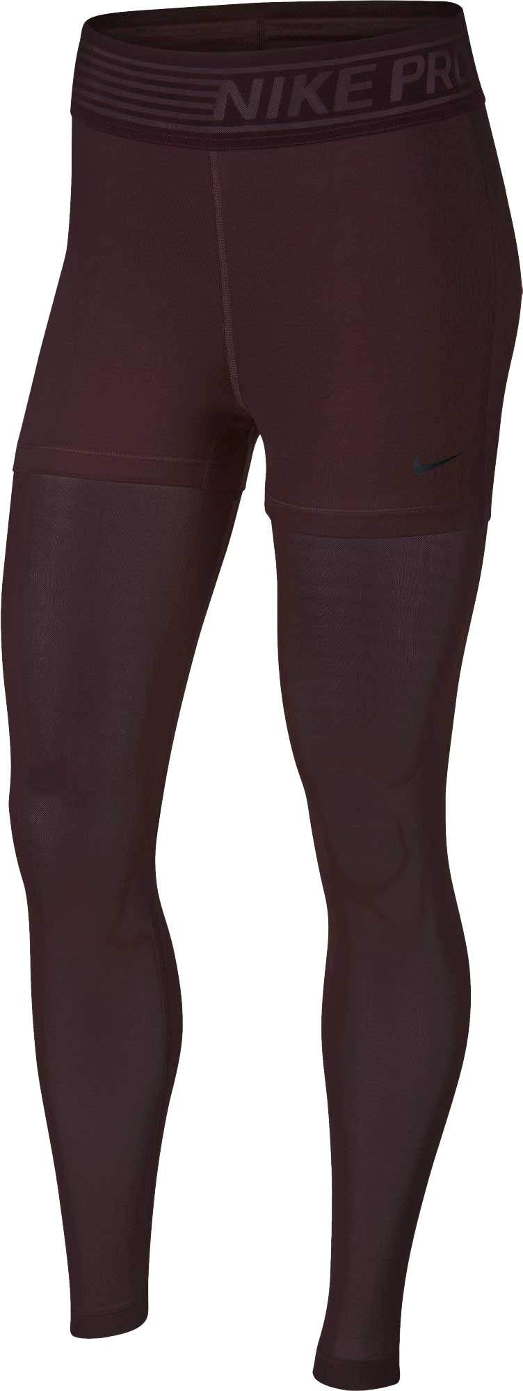 Nike Pro Deluxe Women's Thigh to Ankle Mesh Training Tights(Burgundy Crush/Small)