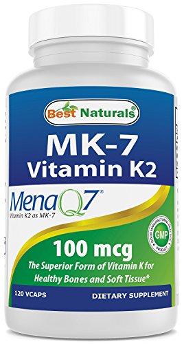 Best Naturals MK-7 Vitamin K2 100 mcg 120 Vcaps (Best Vitamin K2 Mk 7 Supplement)