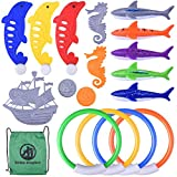 BONROB Pool Diving Toys for Kids,17PCS Underwater Swimming Diving Rings BG001