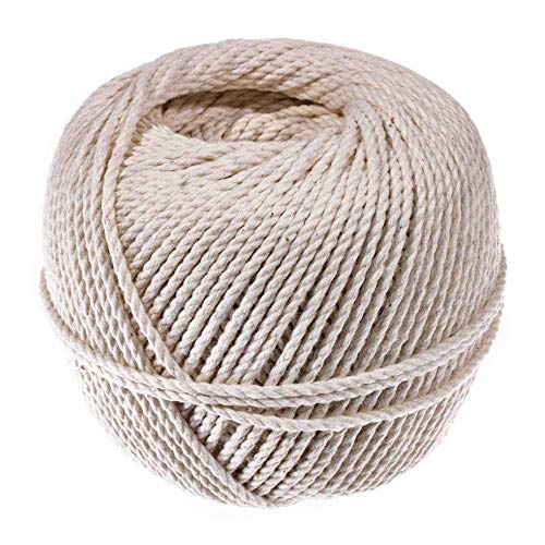 3 Strand Cable Cotton Twine (2.5 MM x 150 Feet) - Mason Line, Chalk Line, Seine Twine - Hold Knots Securely