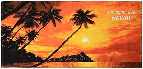 Hawaii Beach Towel 100/% Cotton 60x30 Red Islands Names Map Dolphin Oahu