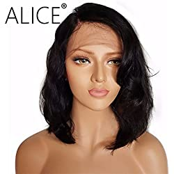 """ALICE Lace Front Wigs Short Black Wig, 14"""" Natural Wavy Bob Style Side Part Synthetic Full Wig for Women Girls As Real Human Hair"""