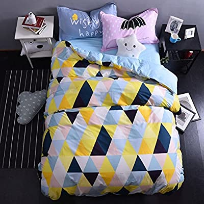 DACHUI Cotton bed sheets - 1800 beds fade, stain resistant - Hypoallergenic - 4 units (Cartoon - simple) - I Queen 1.