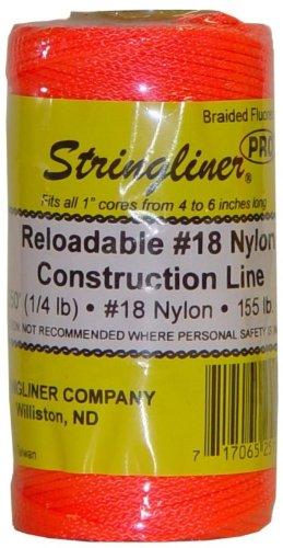 Stringliner 35159 250' Braided Nylon Construction Line Fluorescent Orange 1/4-lb. Replacement - Orange Chalk Fluorescent