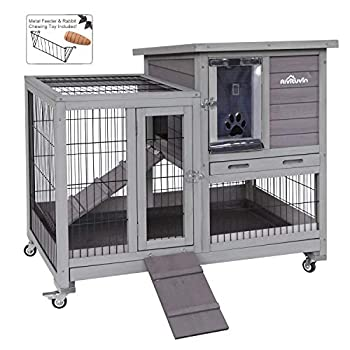 Image of Aivituvin Rabbit Hutch Indoor Bunny Hutch with Run Outdoor Rabbit House with Two Deeper No Leak Trays - 4 Casters Include Home and Kitchen