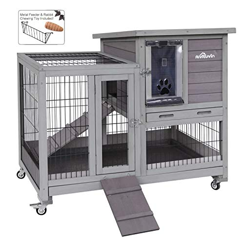 Aivituvin Rabbit Hutch Indoor Bunny Hutch with Run Outdoor Rabbit House with Two Deeper No Leak Trays - 4 Casters Include (The Best Rabbit Hutch)