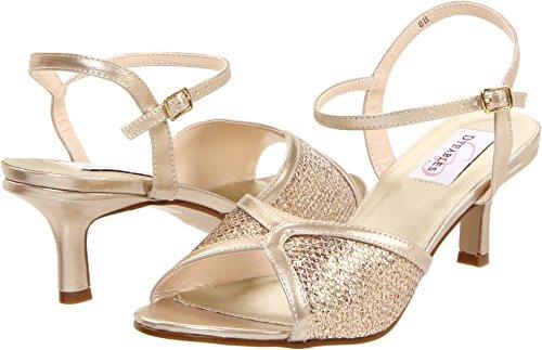 Dyeables Women's Dre Ankle-Strap Sandal,Champagne Glitter,6 D US