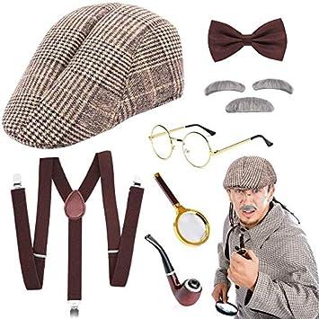 Detective Sherlock Plastic Smoking Pipe Moustaches Bowler Hat Fancy Dress Set
