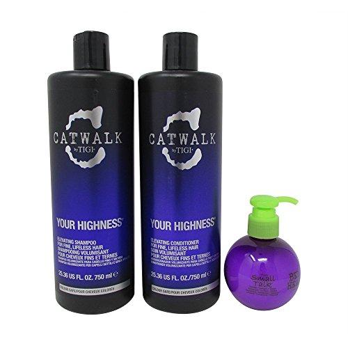 Bundle-3 Items : TIGI Catwalk Your Highness Volume Tween, 25.36 Oz Volumizing Shampoo and Conditioner & TIGI Bed Head Small Talk 4.2 oz -