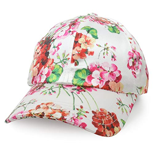 Trendy Apparel Shop Women's Floral Print Satin Unstructured Low Profile Baseball Cap - White