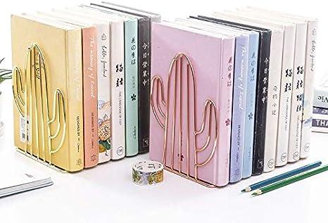 Libro Escolar Oficina Forma de Cactus Creativo Metal Soporte de Libro Telesc/ópico para Dormitorio Dorado 2 Piezas Sujetalibros Antideslizantes Metal Biblioteca Sujetalibros de Cactus