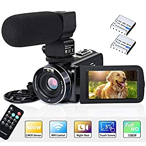 """Flashandfocus.com 51Ouyx8XrKL._SS300_ Video Camera Camcorder WiFi IR Night Vision FHD 1080P 30FPS 26MP YouTube Vlogging Camera Recorder 3"""" Touch Screen 16X Digital Zoom Digital Camera with Microphone Remote Control"""