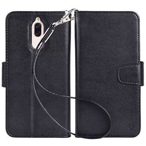 Arae Huawei Mate 10 lite Hülle, Premium PU-leder Brieftasche Handyhülle [Standfunktion] mit Trageschlaufe und [4 Kartenfächer] Für Huawei Mate 10 lite, Schwarz schwarz